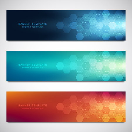 Set of vector banners and headers for site with medical background and hexagons pattern. Abstract geometric texture. Modern design for decoration website and other ideas