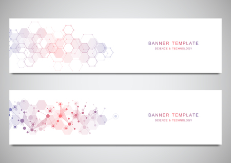 Vector banners and headers for site with molecules background and neural network. Genetic engineering or laboratory research. Abstract geometric texture for medical, science and technology design