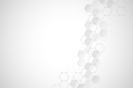 Geometric background texture with molecular structures and chemical compounds. Abstract background of hexagons pattern. Vector illustration for medical or scientific and technological modern design Stock Illustratie