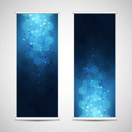 Roll up banner stands with abstract geometric background of molecular structure and genetic engineering. Hi-tech digital background. Vector illustration for technological or scientific modern design