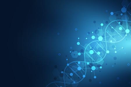 Cadena de ADN y estructura molecular. Ingeniería genética o investigación de laboratorio. Textura de fondo para diseño médico o científico y tecnológico.