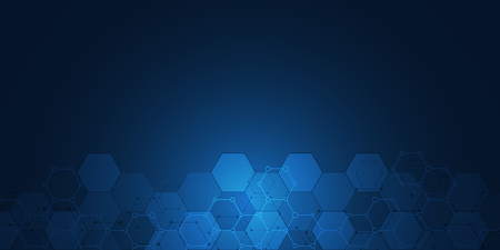 Molecular structures and hexagons elements. Abstract geometric background with molecules and communication. Hexagons pattern for medical or scientific and technological design. Stock Photo