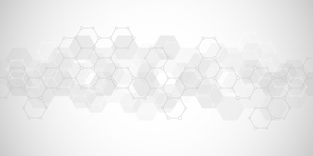 Geometric background texture with molecular structures and chemical engineering. Abstract background of hexagons pattern. Vector illustration for medical or scientific and technological modern design. Imagens