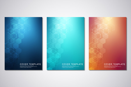Vector template for cover or brochure, with hexagons pattern and technological background. Abstract geometric texture and hi-tech digital background