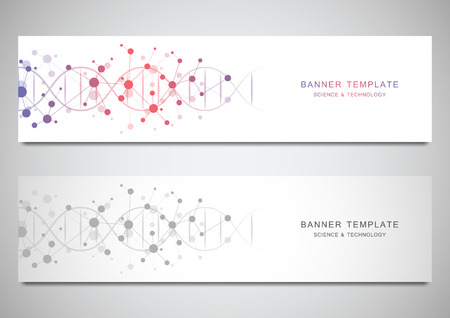 Vector banners and headers for site with DNA strand and molecular structure. Genetic engineering or laboratory research. Abstract geometric texture for medical, science and technology design Ilustração