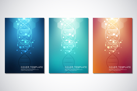 Vector template for cover or brochure, with molecules background and DNA strand. Medical or scientific and technological concept