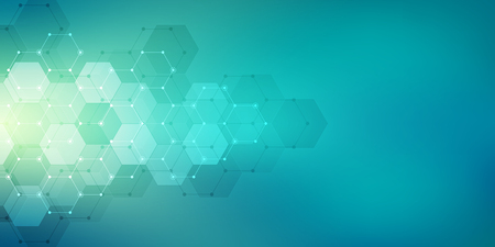 Geometric abstract background with hexagons elements. Medical background texture for modern design. Vector illustration of molecular structures and hexagons pattern. Science and Technology concept Vector Illustration
