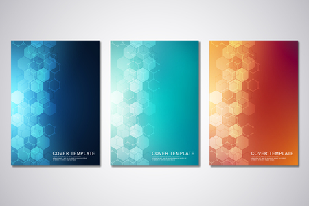 Vector template for cover or brochure, with hexagons pattern and technological background. Abstract geometric texture and hi-tech digital background Ilustración de vector