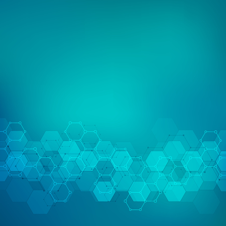 Geometric background texture with molecular structures and chemical engineering. Abstract background of hexagons pattern. Vector illustration for medical or scientific and technological modern design. 免版税图像