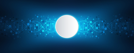 DNA strand and molecular structure. Genetic engineering or laboratory research. Background texture for medical or scientific and technological design. Vector illustration