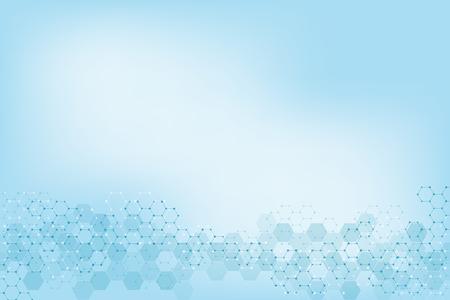 Textura de fondo geométrico con estructuras moleculares e ingeniería química. Fondo abstracto del patrón de hexágonos. Ilustración de vector de diseño moderno médico o científico y tecnológico