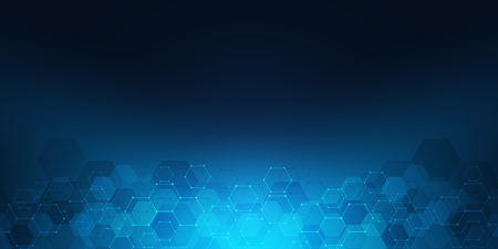 Geometrische Hintergrundtextur mit molekularen Strukturen und Chemieingenieurwesen. Abstrakter Hintergrund des Hexagonmusters. Vektorillustration für medizinisches oder wissenschaftliches und technologisches modernes Design Vektorgrafik