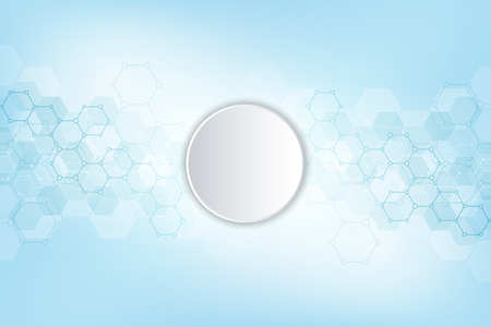Geometric abstract background with hexagons elements. Medical background texture for modern design. Vector illustration of molecular structures and hexagons pattern. Science and Technology concept