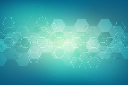 Abstract hexagons pattern for medical or scientific and technological modern design. Abstract texture background with molecular structures and chemical engineering