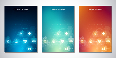 Folleto de plantilla o cubierta con iconos y símbolos médicos. Concepto de tecnología de la salud, la ciencia y la innovación.