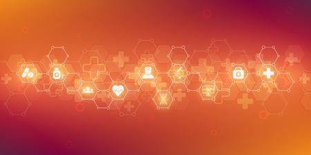 Santé et formation médicale avec des icônes et des symboles plats. Concept de technologie de la science, de la médecine et de l'innovation