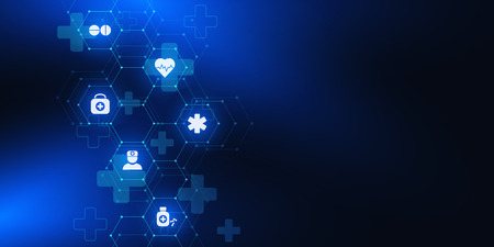 Healthcare and medical background with flat icons and symbols. Science, medicine and innovation technology concept