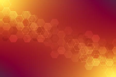Texture de fond géométrique avec structures moléculaires et génie chimique. Abstrait du motif hexagones. Illustration vectorielle pour la conception moderne médicale ou scientifique et technologique