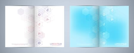 Template brochure or cover design, book, flyer, with technological icons and symbols Stock Illustratie