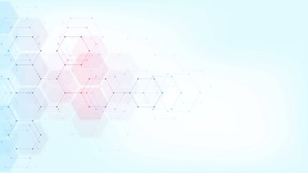 Abstract technology or medical background with hexagons shape pattern. Concepts and ideas for healthcare technology, innovation medicine, health, science and research