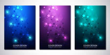 Vector template for cover or brochure, with molecules background and neural network. Abstract geometric background of connected lines and dots. Medical or scientific and technological concept.