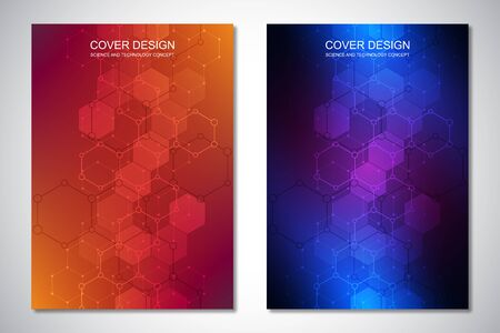 Vector template for cover or brochure, with hexagons pattern and technological background. Abstract geometric texture and hi-tech digital background. Stock Illustratie