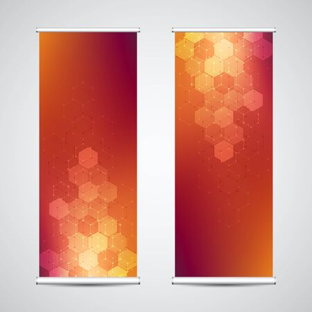 Roll up banner stands with abstract geometric background of hexagons pattern.