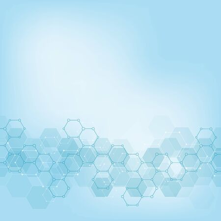 분자 구조와 화학 공학과 기하학적 배경 질감. 육각형 패턴의 추상적인 배경입니다. 의료 또는 과학 및 기술 현대적인 디자인을 위한 벡터 일러스트 레이 션.