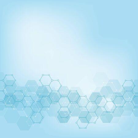 Trama di sfondo geometrico con strutture molecolari e ingegneria chimica. Fondo astratto del reticolo di esagoni. Illustrazione di vettore per il design moderno medico o scientifico e tecnologico.