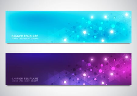 Banners and headers for site with molecules background and neural network. Genetic engineering or laboratory research. Abstract geometric texture for medical, science and technology design.