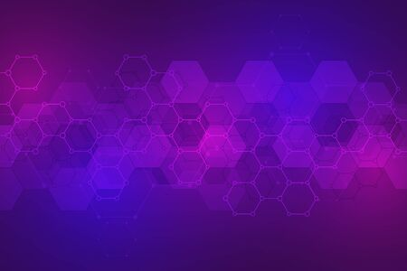 Science and technology background with hexagons pattern. Hi-tech background of molecular structures and chemical engineering 向量圖像