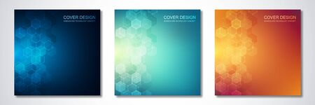 Square template for cover or brochure, with hexagons pattern and technological background. Abstract geometric texture and hi-tech background