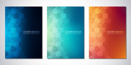Vector templates for cover or brochure, with hexagons pattern. Hi-tech background of molecular structures and chemical engineering. Science and technology concept