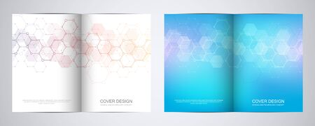 Bi fold brochure template with hexagons pattern. Geometric abstract background of molecular structures and chemical compounds
