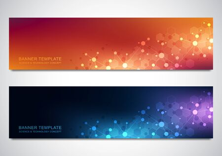 Banners design template with molecules background and neural network. Science and technology background of genetic engineering or laboratory research Illusztráció