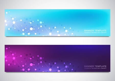 Banners design template with molecules background and neural network. Science and technology background of genetic engineering or laboratory research Illustration