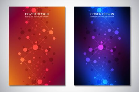 Vector templates for cover or brochure, with molecules background and neural network. Abstract geometric background of connected lines and dots. Science and technology concept Ilustracja