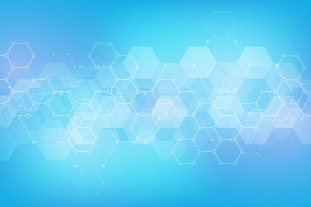 Abstract hexagons pattern for medical or scientific and technological modern design. Abstract texture background with molecular structures and chemical engineering Illustration