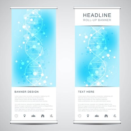 Roll up banner stands with DNA strand and molecular structure. Genetic engineering or laboratory research. Abstract geometric texture for medical, science and technology design
