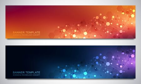 Banners design template with molecules background and neural network. Science and technology background of genetic engineering or laboratory research