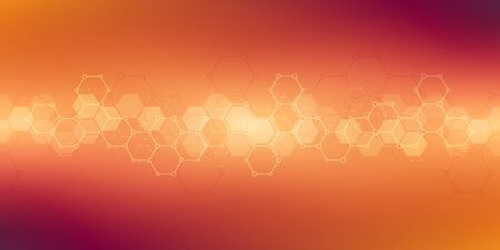 Abstract background texture for medical or scientific and technological modern design. Hexagons pattern with molecular structures and chemical engineering