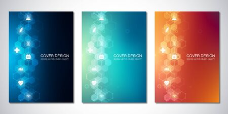 Vector templates for cover or brochure, with hexagons pattern and medical icons. Healthcare, science and technology concept