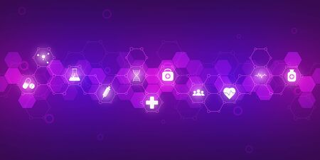 Healthcare medical and science background with icons and symbols. Innovation technology concept Illustration