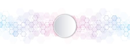 Abstract hexagons pattern for medical or scientific and technological modern design. Abstract texture background with molecular structures and chemical engineering Ilustração