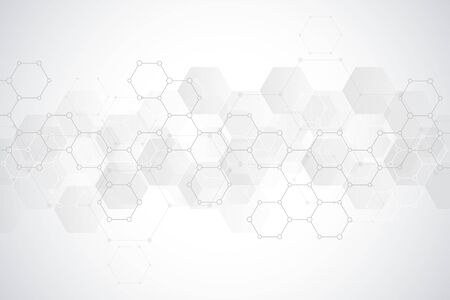 Abstract hexagons pattern for medical or scientific and technological modern design. Abstract texture background with molecular structures and chemical engineering Vectores