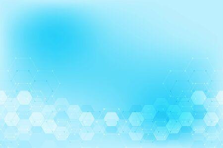 Patrón de hexágonos abstractos para diseño moderno médico o científico y tecnológico. Fondo de textura abstracta con estructuras moleculares e ingeniería química Ilustración de vector