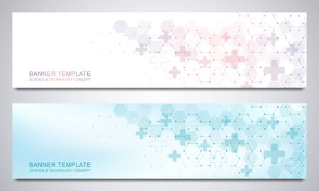 Banners and headers for site with medical background and hexagons pattern. Abstract geometric texture. Modern design for decoration website and other ideas