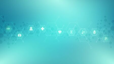 Abstract medical background with flat icons and symbols. Template design with concept and idea for healthcare technology, innovation medicine, health, science and research  イラスト・ベクター素材