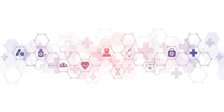 Abstract medical background with flat icons and symbols. Concepts and ideas for healthcare technology, innovation medicine, health, science and research.  イラスト・ベクター素材