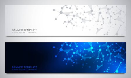 Banners design template with molecular structures and neural network. Abstract molecules and genetic engineering background. Science and innovation technology concept